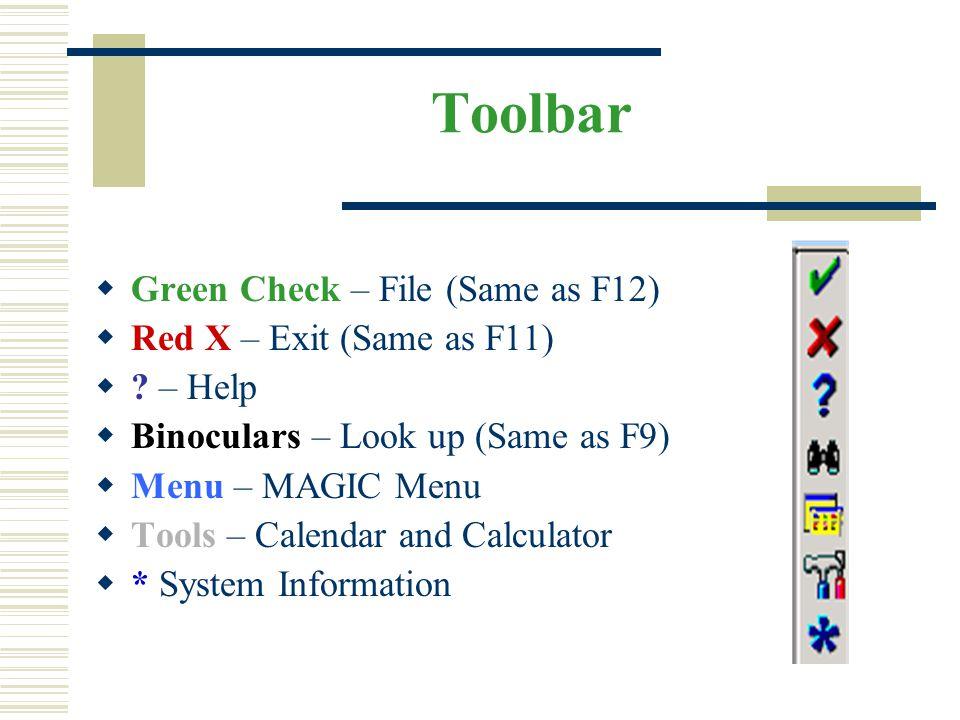 Toolbar  Green Check – File (Same as F12)  Red X – Exit (Same as F11)  ? – Help  Binoculars – Look up (Same as F9)  Menu – MAGIC Menu  Tools – C