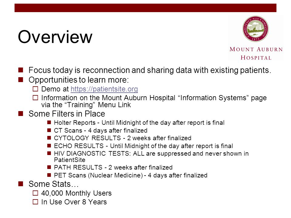 Overview Focus today is reconnection and sharing data with existing patients.