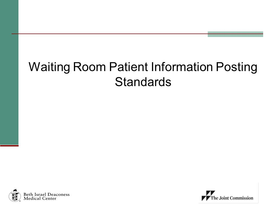 Waiting Room Patient Information Posting Standards