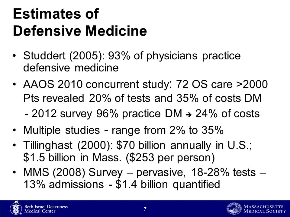 Estimates of Defensive Medicine Studdert (2005): 93% of physicians practice defensive medicine AAOS 2010 concurrent study : 72 OS care >2000 Pts revealed 20% of tests and 35% of costs DM - 2012 survey 96% practice DM  24% of costs Multiple studies - range from 2% to 35% Tillinghast (2000): $70 billion annually in U.S.; $1.5 billion in Mass.