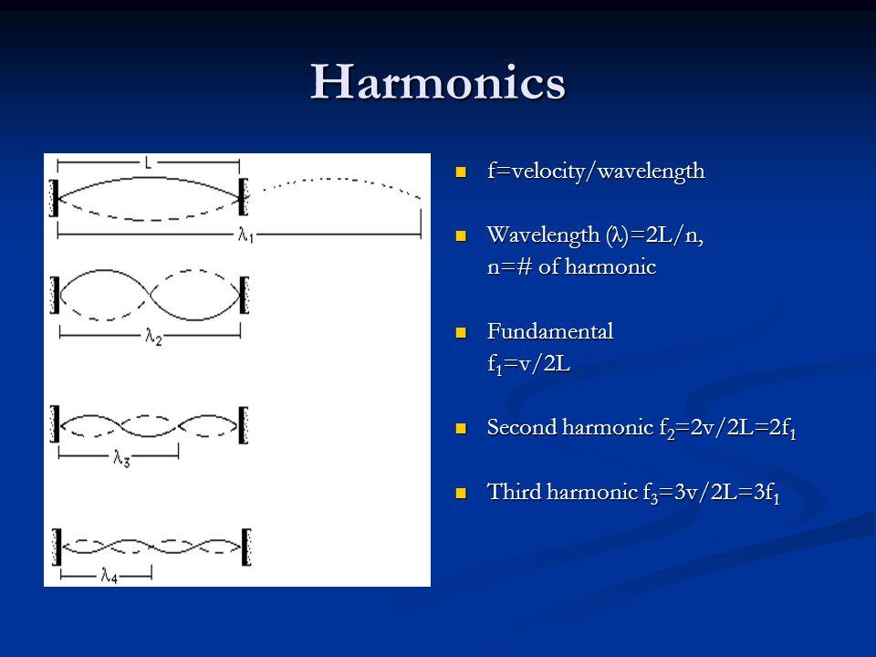 Harmonics f=velocity/wavelength Wavelength (λ)=2L/n, n=# of harmonic Fundamental f 1 =v/2L Second harmonic f 2 =2v/2L=2f 1 Third harmonic f 3 =3v/2L=3