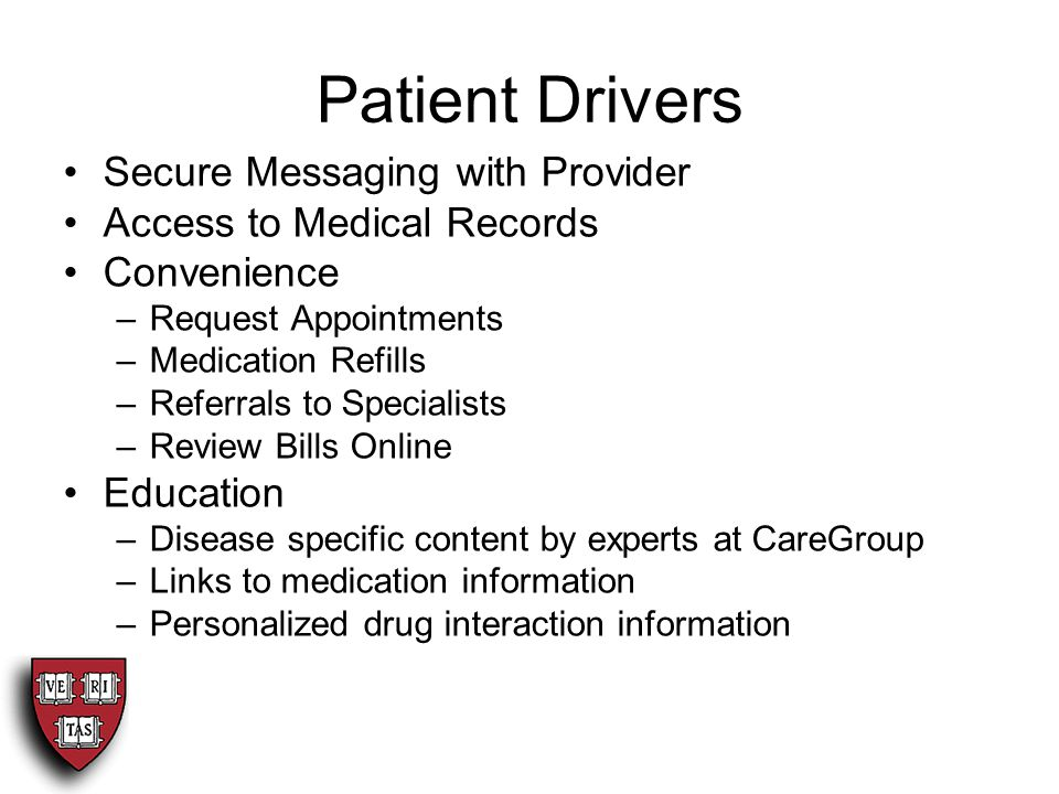 Patient Drivers Secure Messaging with Provider Access to Medical Records Convenience –Request Appointments –Medication Refills –Referrals to Specialists –Review Bills Online Education –Disease specific content by experts at CareGroup –Links to medication information –Personalized drug interaction information
