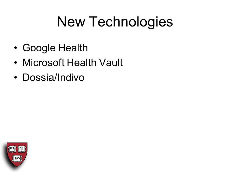 New Technologies Google Health Microsoft Health Vault Dossia/Indivo