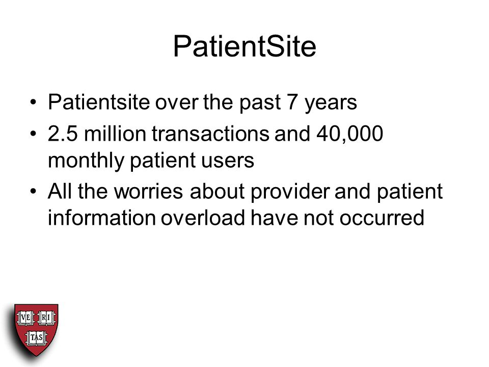 PatientSite Patientsite over the past 7 years 2.5 million transactions and 40,000 monthly patient users All the worries about provider and patient information overload have not occurred