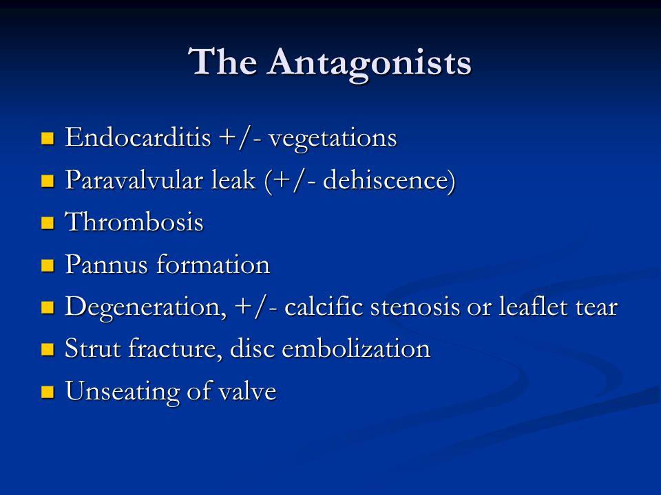 The Antagonists Endocarditis +/- vegetations Endocarditis +/- vegetations Paravalvular leak (+/- dehiscence) Paravalvular leak (+/- dehiscence) Thromb
