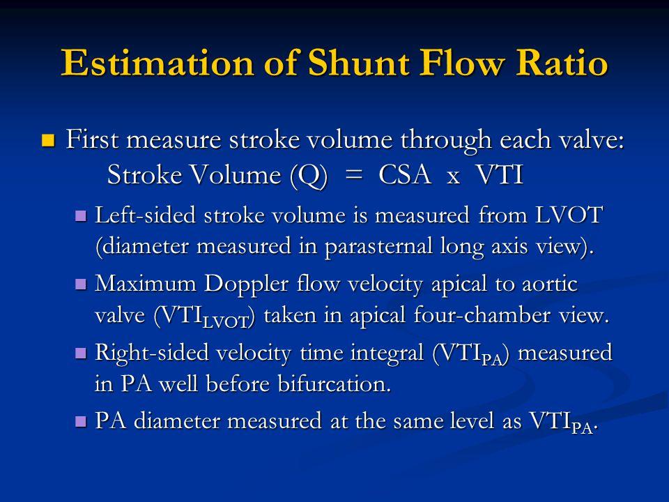 Estimation of Shunt Flow Ratio First measure stroke volume through each valve: Stroke Volume (Q) = CSA x VTI First measure stroke volume through each