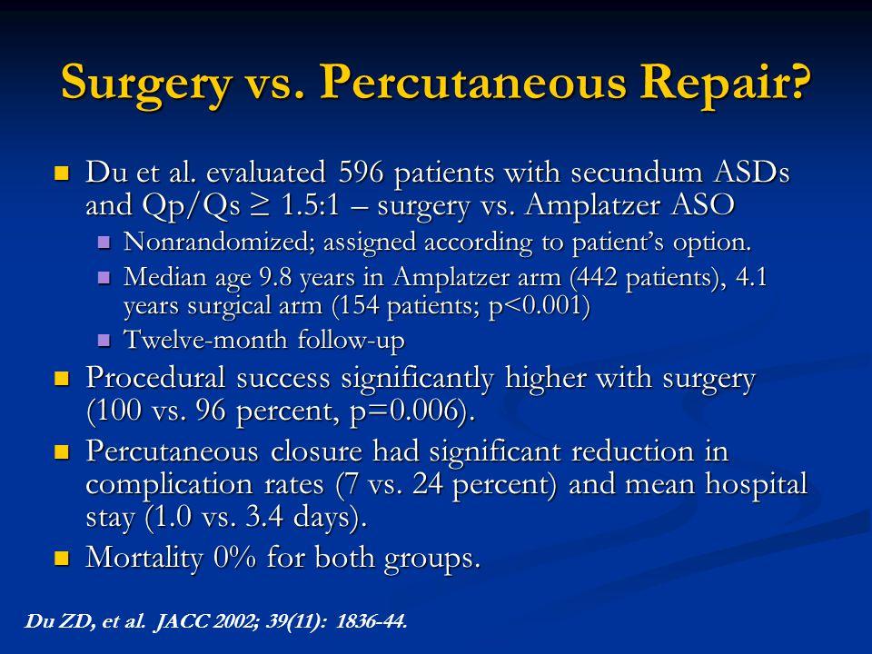 Surgery vs. Percutaneous Repair? Du et al. evaluated 596 patients with secundum ASDs and Qp/Qs ≥ 1.5:1 – surgery vs. Amplatzer ASO Du et al. evaluated