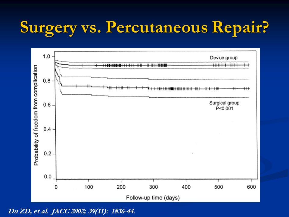 Surgery vs. Percutaneous Repair? Du ZD, et al. JACC 2002; 39(11): 1836-44.