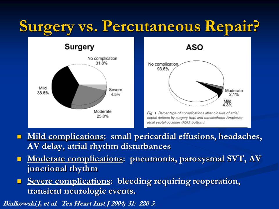 Surgery vs. Percutaneous Repair? Mild complications: small pericardial effusions, headaches, AV delay, atrial rhythm disturbances Mild complications: