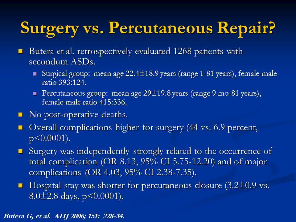 Surgery vs. Percutaneous Repair? Butera et al. retrospectively evaluated 1268 patients with secundum ASDs. Butera et al. retrospectively evaluated 126