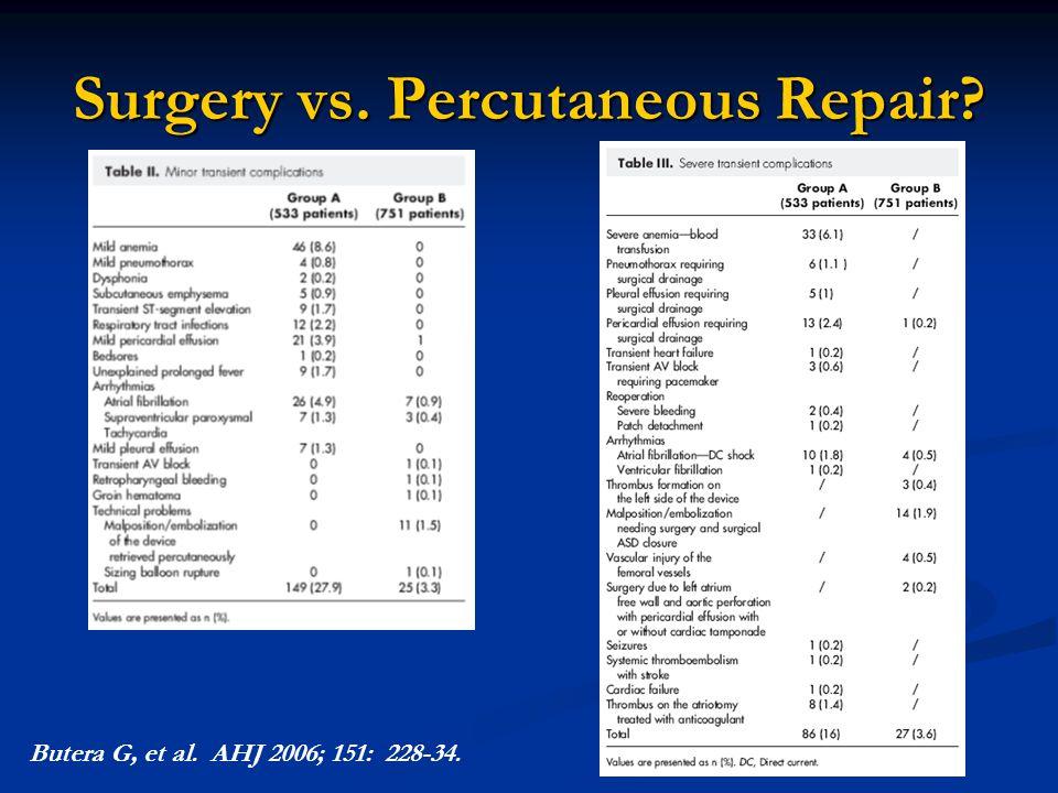 Surgery vs. Percutaneous Repair? Butera G, et al. AHJ 2006; 151: 228-34.