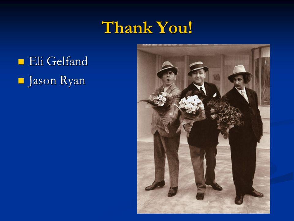 Thank You! Eli Gelfand Eli Gelfand Jason Ryan Jason Ryan