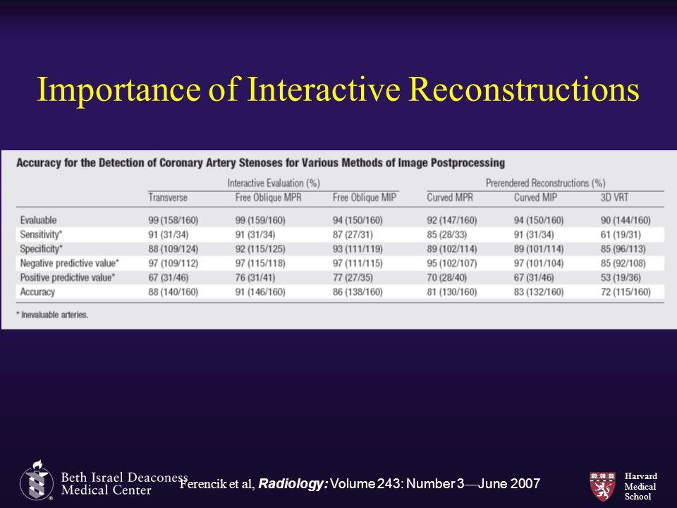 Harvard Medical School Importance of Interactive Reconstructions Ferencik et al, Radiology: Volume 243: Number 3 — June 2007