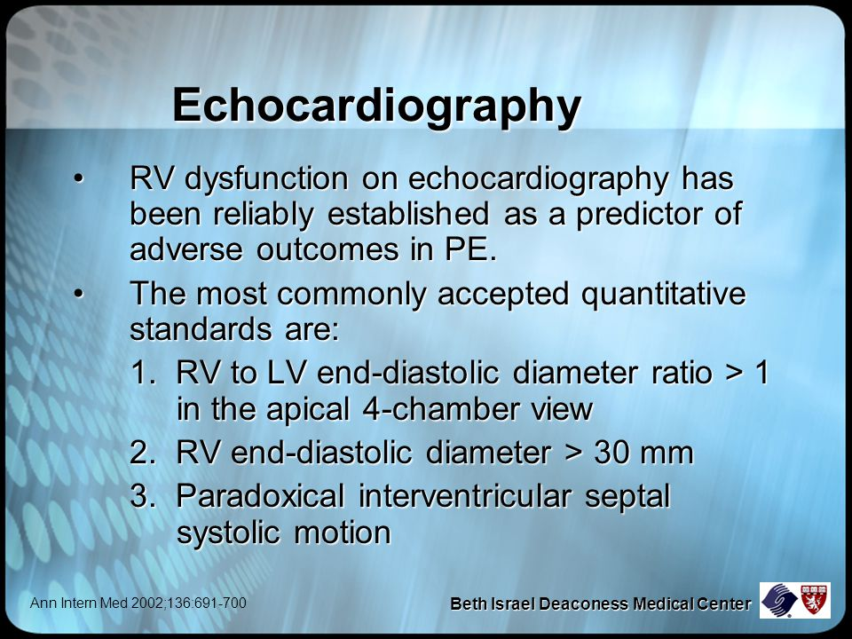 Beth Israel Deaconess Medical Center Echocardiography RV dysfunction on echocardiography has been reliably established as a predictor of adverse outcomes in PE.RV dysfunction on echocardiography has been reliably established as a predictor of adverse outcomes in PE.