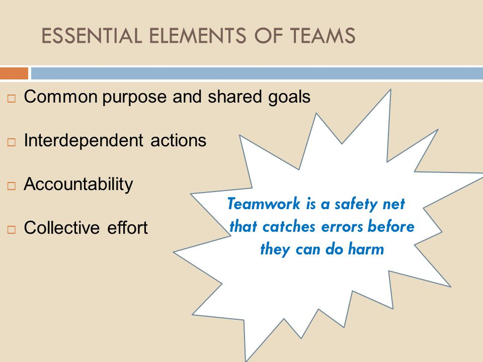 ESSENTIAL ELEMENTS OF TEAMS  Common purpose and shared goals  Interdependent actions  Accountability  Collective effort Teamwork is a safety net t