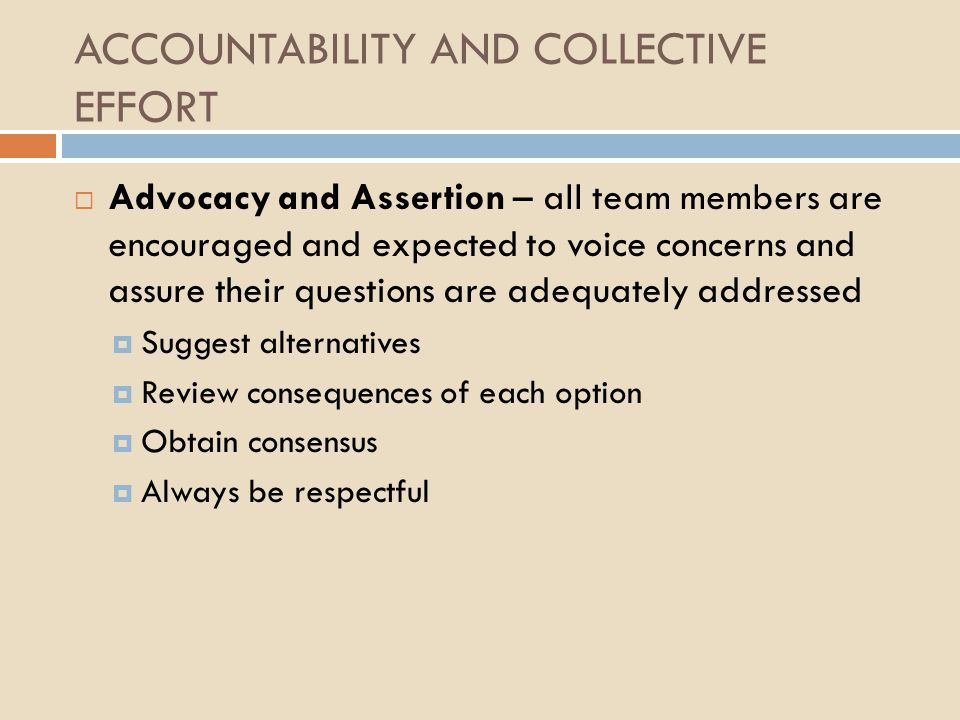 ACCOUNTABILITY AND COLLECTIVE EFFORT  Advocacy and Assertion – all team members are encouraged and expected to voice concerns and assure their questi