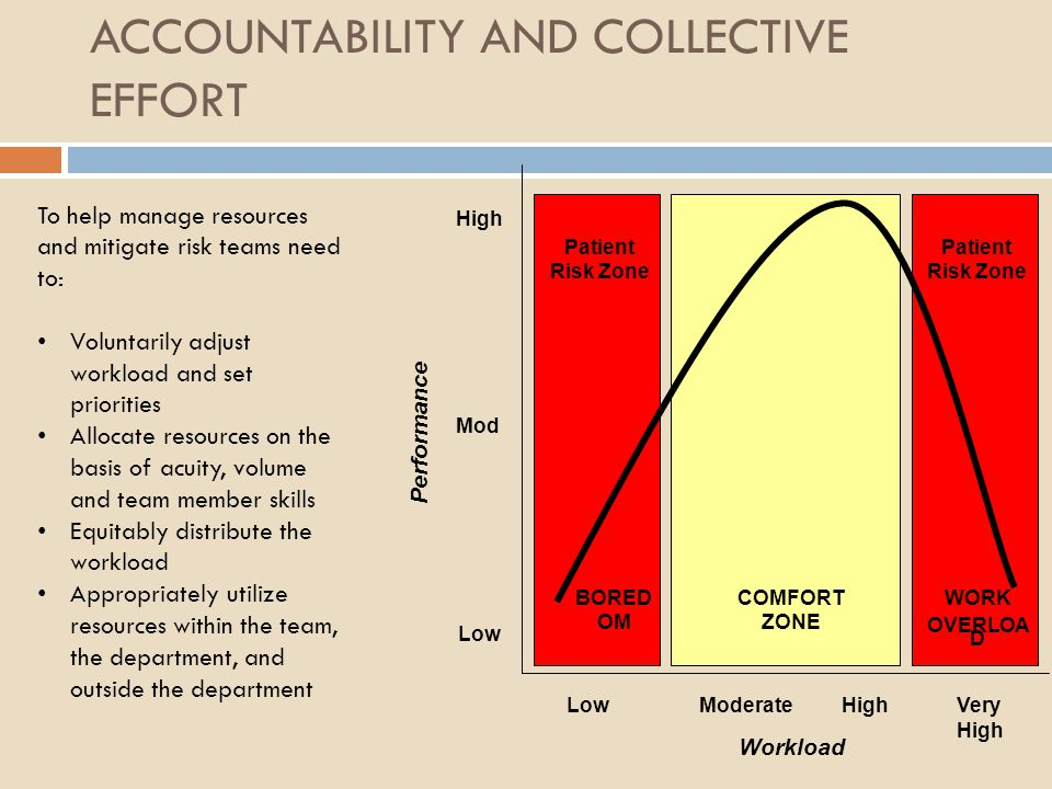 ACCOUNTABILITY AND COLLECTIVE EFFORT LowModerateVery High Low High Mod Workload High Performance COMFORT ZONE WORK OVERLOA D BORED OM Patient Risk Zon