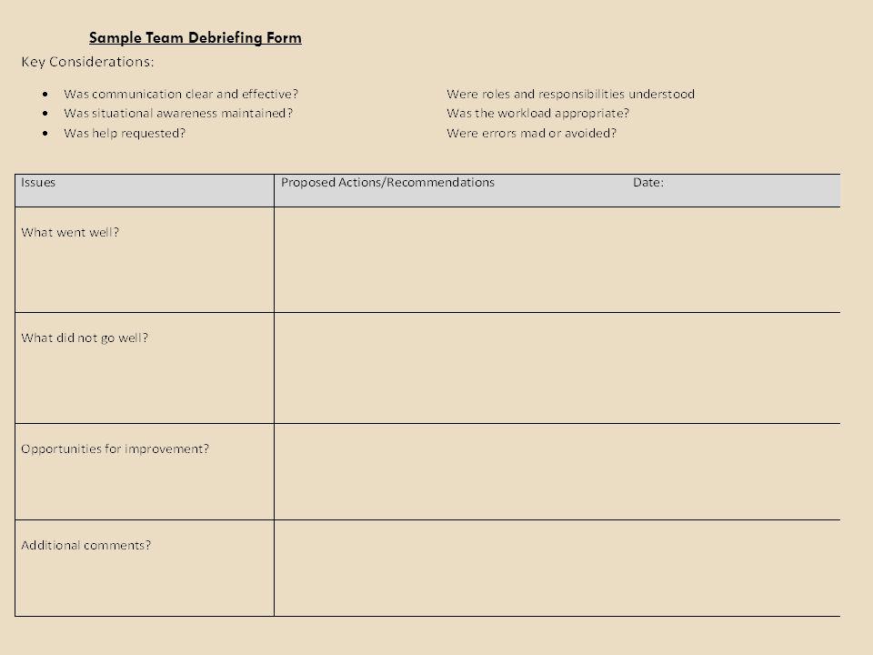 Sample Team Debriefing Form