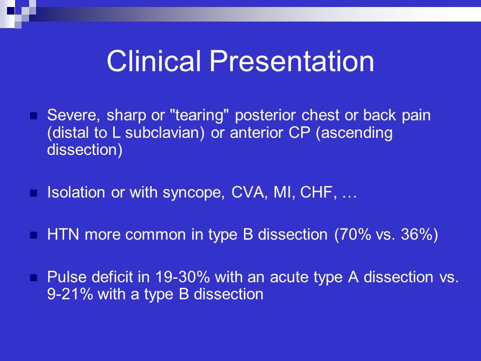 Clinical Presentation Severe, sharp or