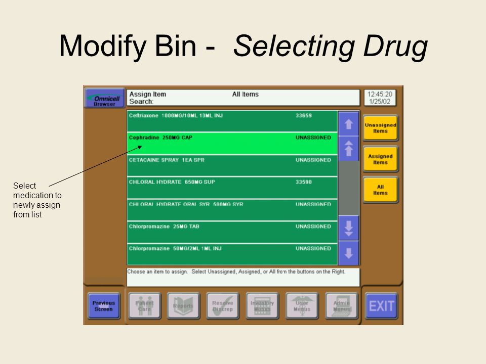 Modify Bin - Selecting Drug Select medication to newly assign from list