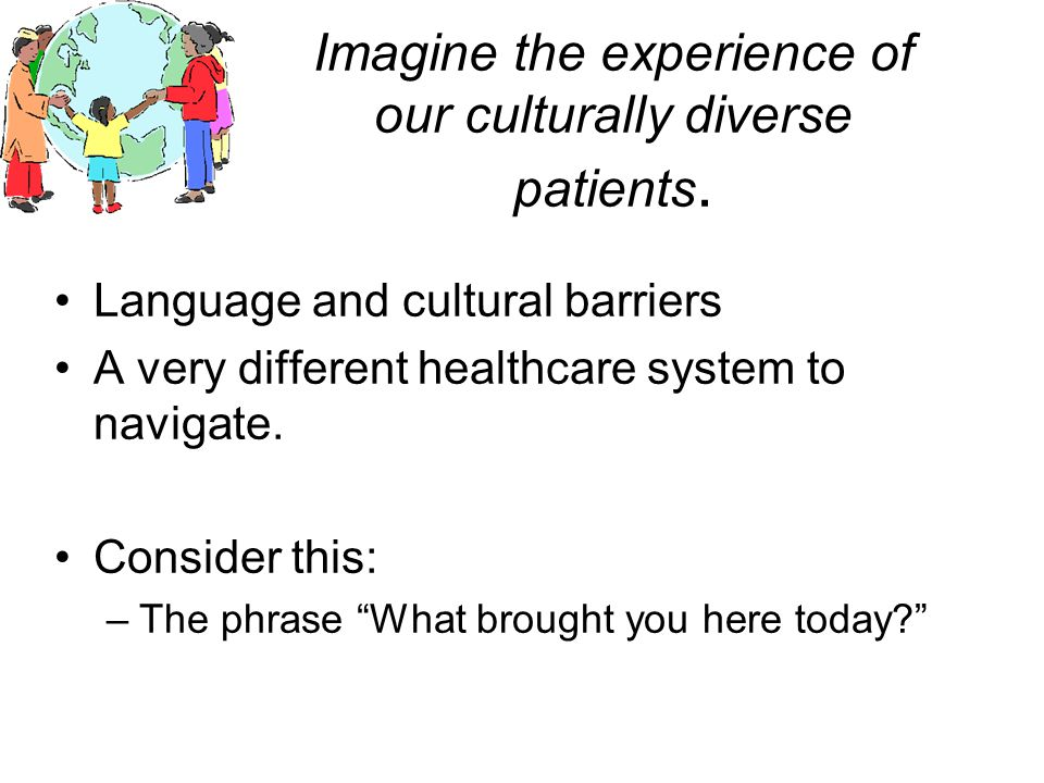 Imagine the experience of our culturally diverse patients.