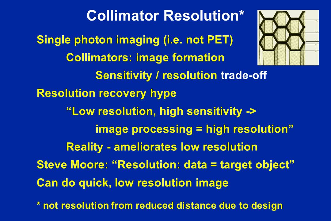Collimator Resolution* Single photon imaging (i.e. not PET) Collimators: image formation Sensitivity / resolution trade-off Resolution recovery hype ""