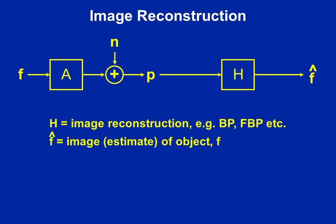 Image Reconstruction Af n p + f ^ H H = image reconstruction, e.g.