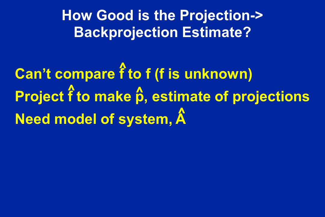 How Good is the Projection-> Backprojection Estimate? Can't compare f to f (f is unknown) Project f to make p, estimate of projections Need model of s