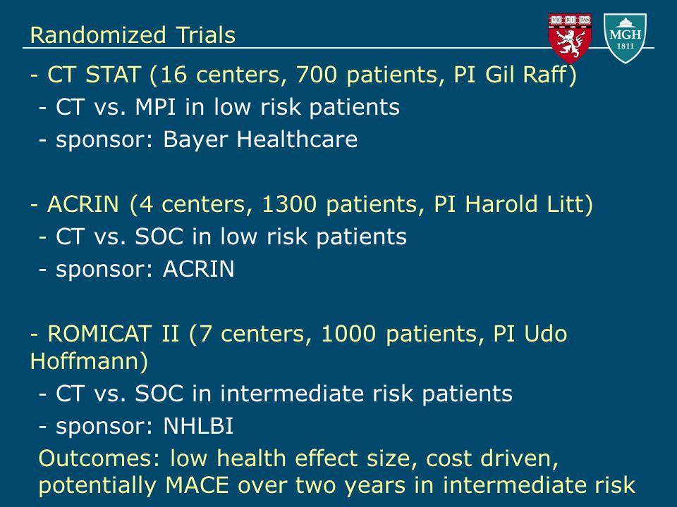 - CT STAT (16 centers, 700 patients, PI Gil Raff) - CT vs.