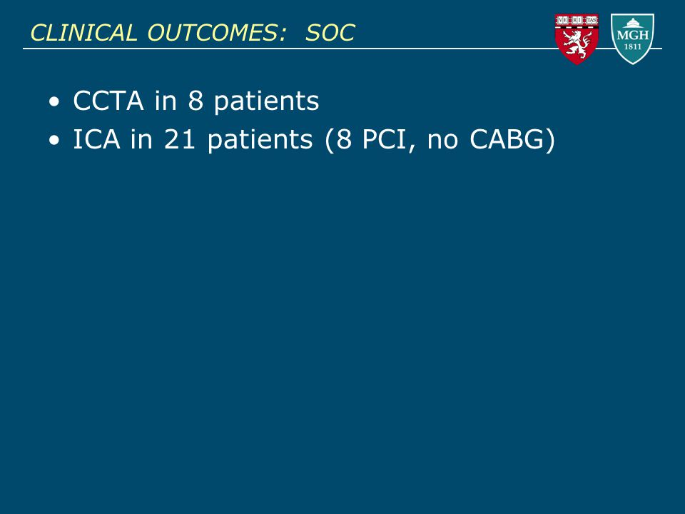 CLINICAL OUTCOMES: SOC CCTA in 8 patients ICA in 21 patients (8 PCI, no CABG)