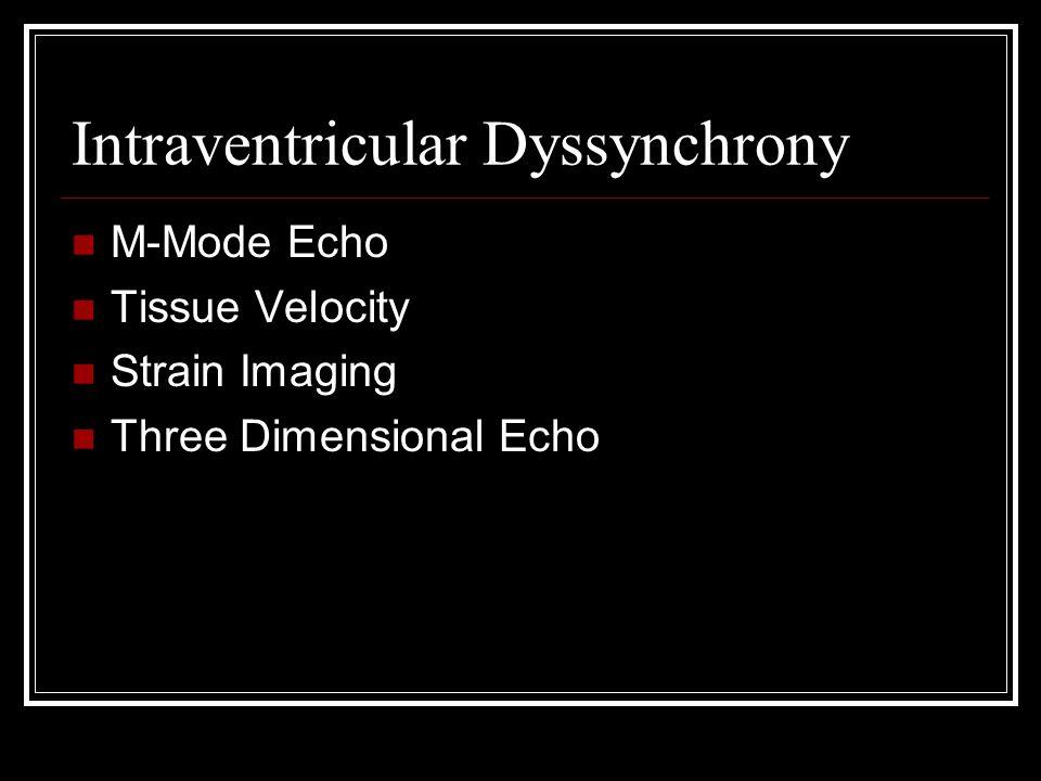 Intraventricular Dyssynchrony M-Mode Echo Tissue Velocity Strain Imaging Three Dimensional Echo