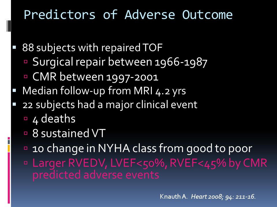 Predictors of Adverse Outcome  88 subjects with repaired TOF  Surgical repair between 1966-1987  CMR between 1997-2001  Median follow-up from MRI