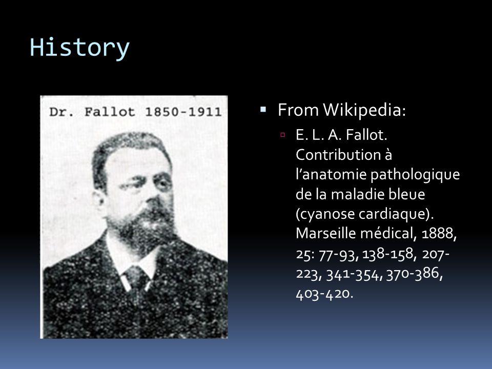 History  From Wikipedia:  E. L. A. Fallot. Contribution à l'anatomie pathologique de la maladie bleue (cyanose cardiaque). Marseille médical, 1888,