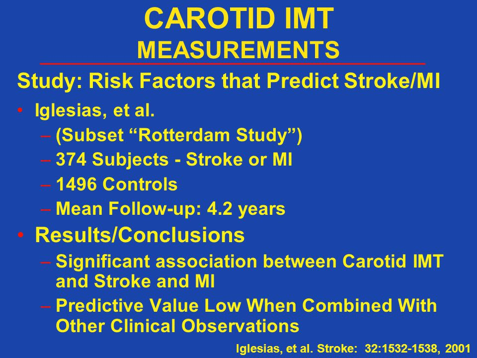 "Study: Risk Factors that Predict Stroke/MI Iglesias, et al. –(Subset ""Rotterdam Study"") –374 Subjects - Stroke or MI –1496 Controls –Mean Follow-up: 4"