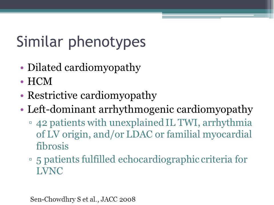 Similar phenotypes Dilated cardiomyopathy HCM Restrictive cardiomyopathy Left-dominant arrhythmogenic cardiomyopathy ▫42 patients with unexplained IL