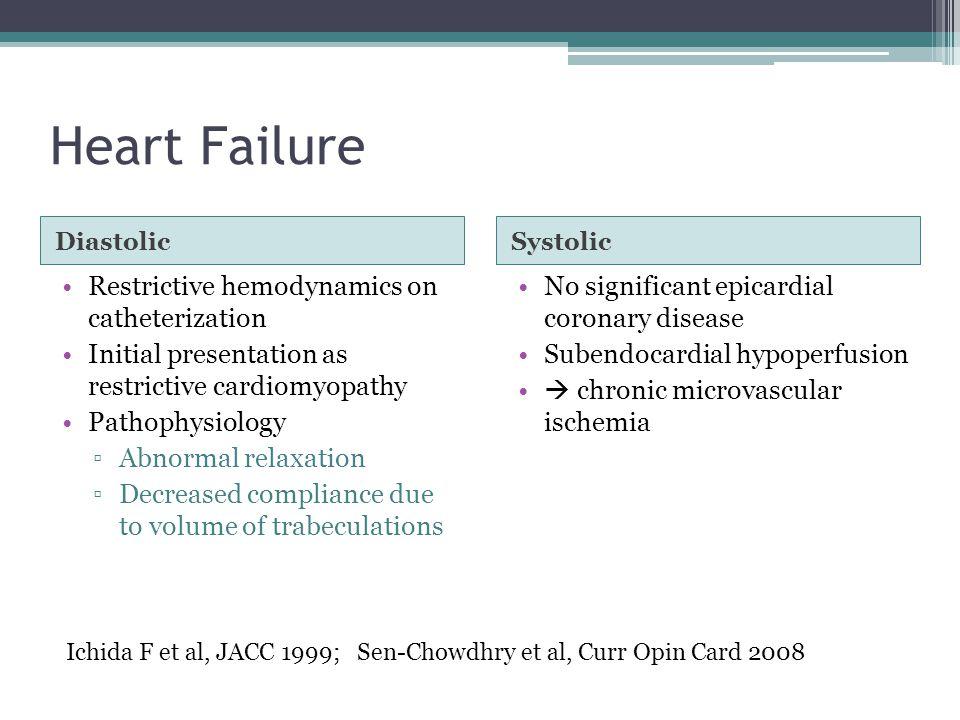 Heart Failure DiastolicSystolic Restrictive hemodynamics on catheterization Initial presentation as restrictive cardiomyopathy Pathophysiology ▫Abnorm