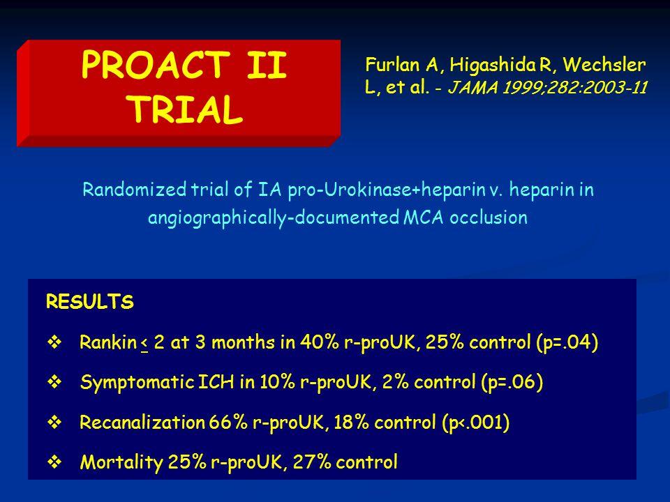 PROACT II TRIAL Furlan A, Higashida R, Wechsler L, et al.