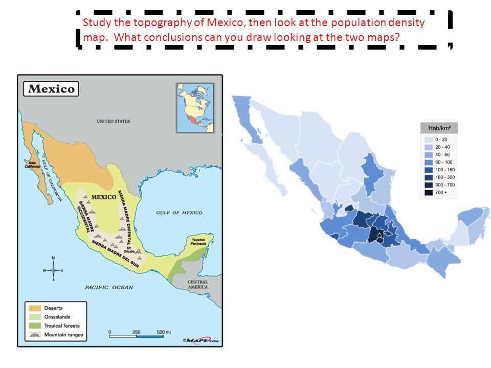 Study the topography of Mexico, then look at the population density map. What conclusions can you draw looking at the two maps?