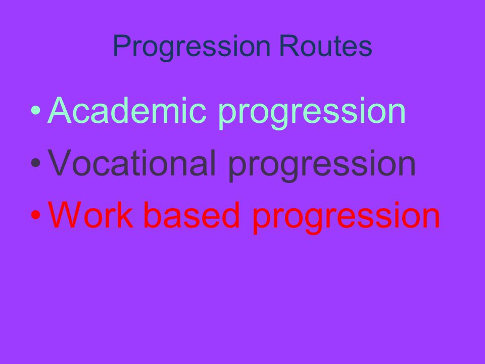 Progression Routes Academic progression Vocational progression Work based progression