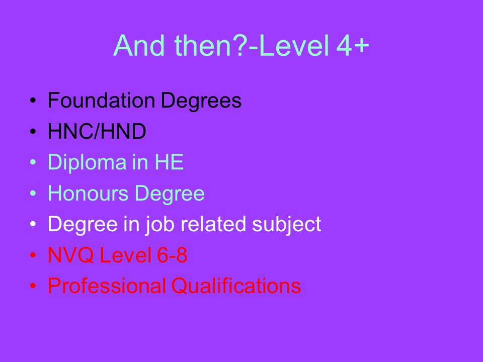 And then -Level 4+ Foundation Degrees HNC/HND Diploma in HE Honours Degree Degree in job related subject NVQ Level 6-8 Professional Qualifications