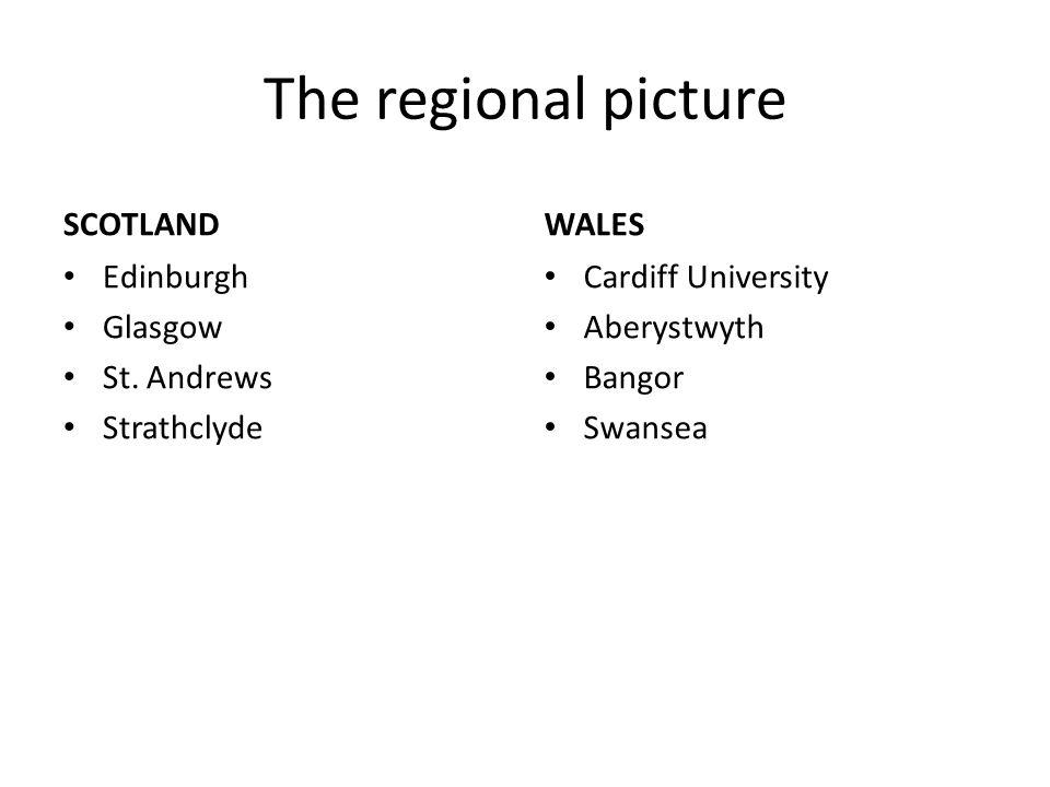 The regional picture SCOTLAND Edinburgh Glasgow St. Andrews Strathclyde WALES Cardiff University Aberystwyth Bangor Swansea