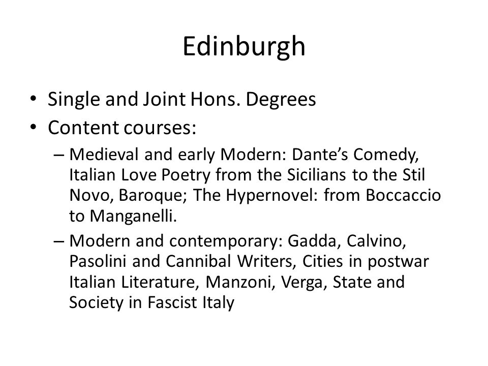 Edinburgh Single and Joint Hons.