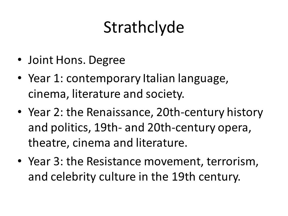Strathclyde Joint Hons.