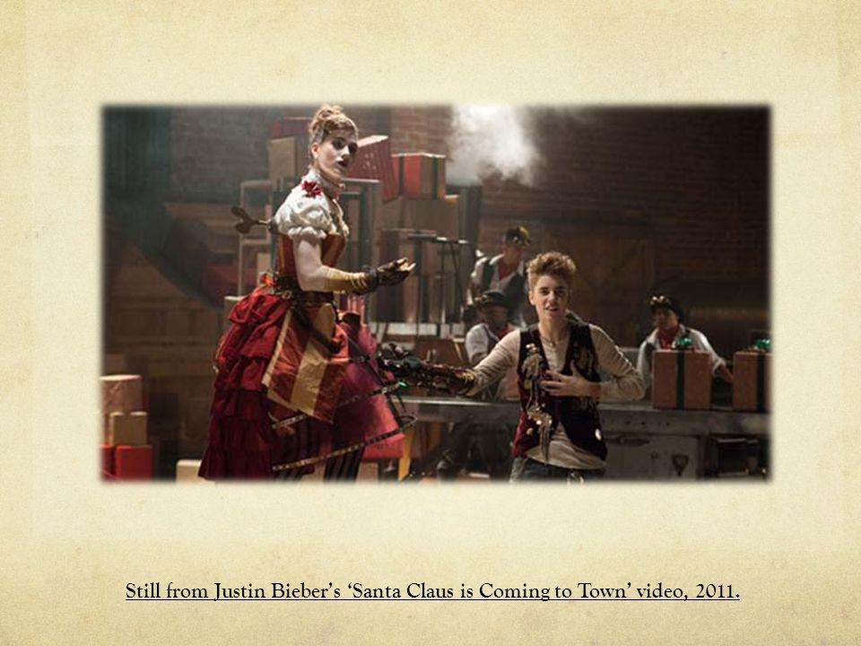 Still from Justin Bieber's 'Santa Claus is Coming to Town' video, 2011.