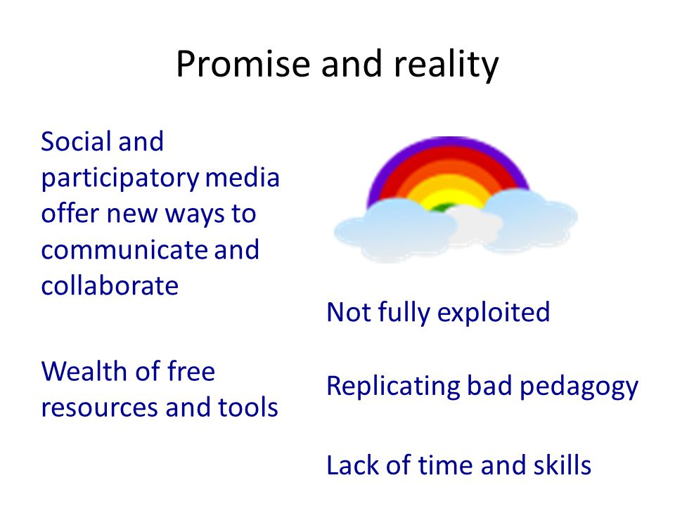 Promise and reality Social and participatory media offer new ways to communicate and collaborate Wealth of free resources and tools Not fully exploited Replicating bad pedagogy Lack of time and skills