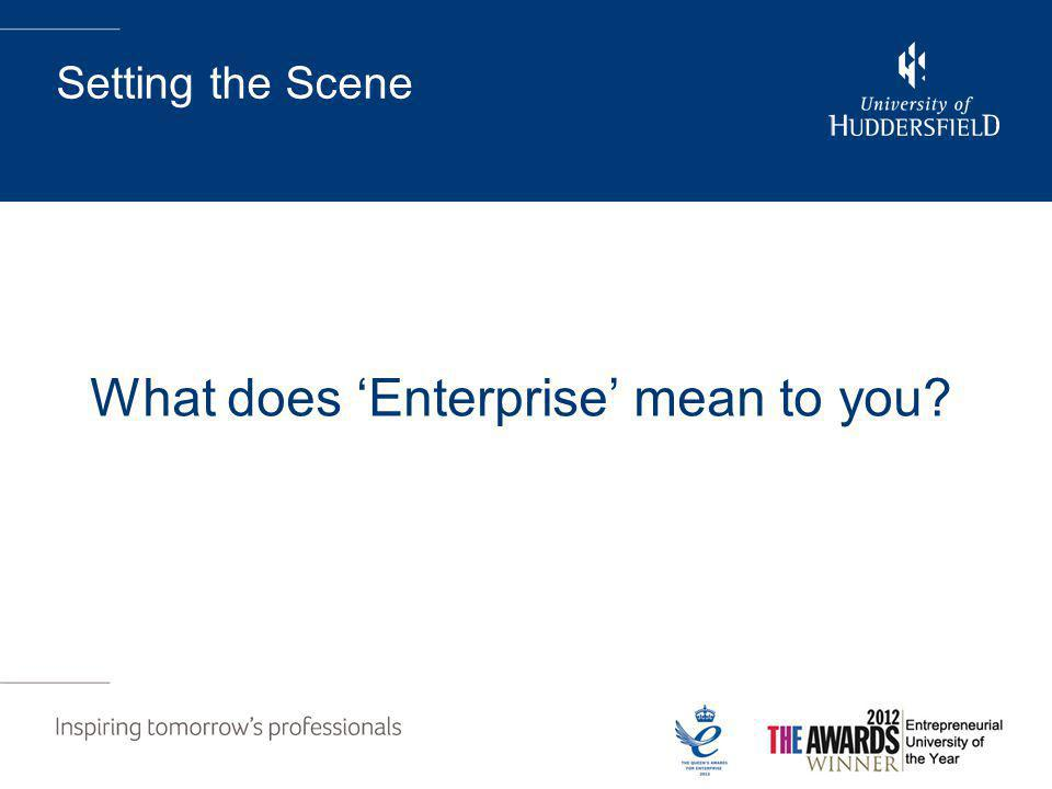 Setting the Scene What does 'Enterprise' mean to you?