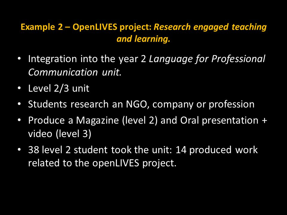 Example 2 – OpenLIVES project: Research engaged teaching and learning.