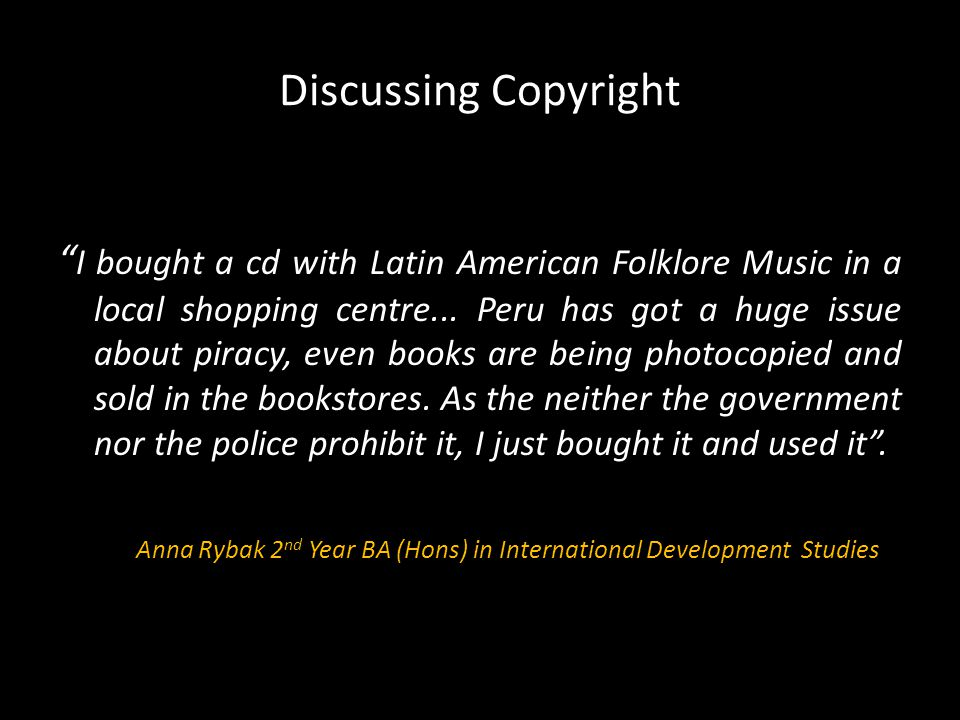 Discussing Copyright I bought a cd with Latin American Folklore Music in a local shopping centre...