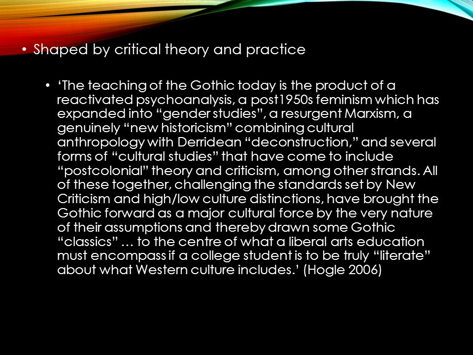 Shaped by critical theory and practice 'The teaching of the Gothic today is the product of a reactivated psychoanalysis, a post1950s feminism which ha