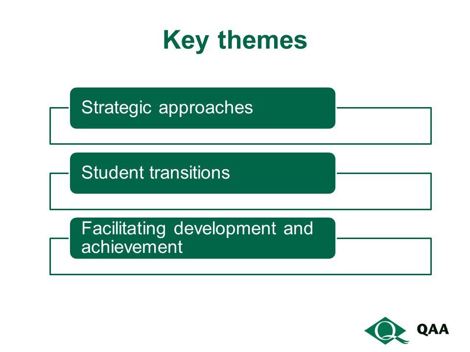 Strategic approachesStudent transitions Facilitating development and achievement Key themes